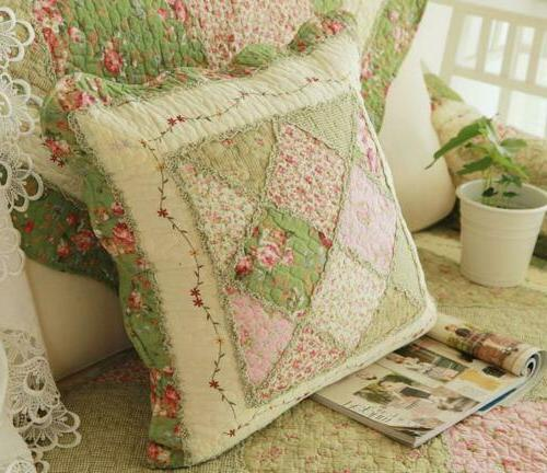 Floral Cotton Patchwork Throw Pillow Shabby Chic