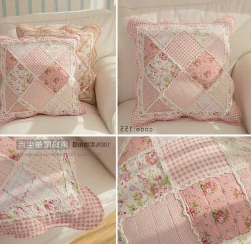 Floral Cotton Patchwork Throw Pillow Shabby Chic Country