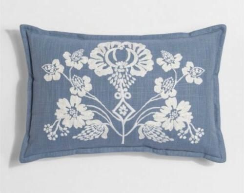 Threshold Floral Lumbar Decorative Throw Pillow White/Blue 1