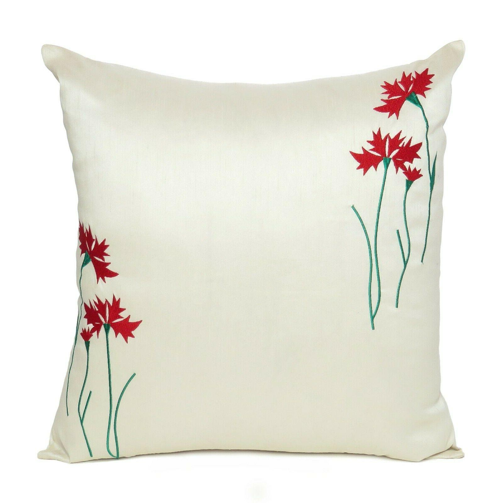 floral throw waist pillow case embroidered cushion