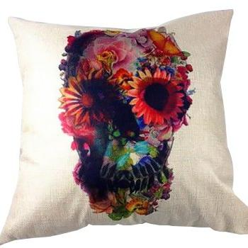 flower skull pillow