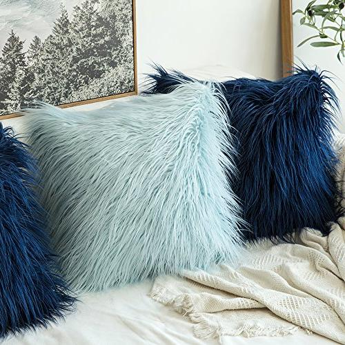 MIULEE Style Blue Fur Cushion Cover for 18 45 cm