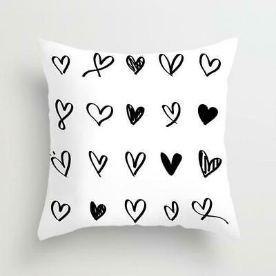 Geometric Black and White Polyester Pillow