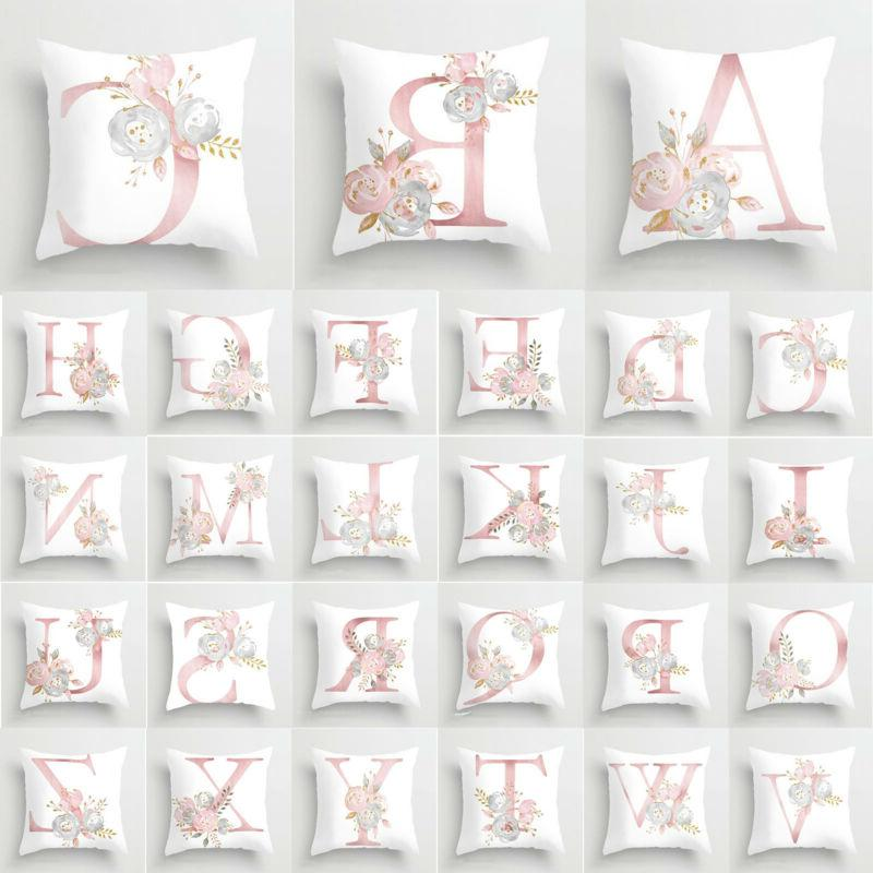Pink Letters Floral Throw Cushion Pillow Covers Case Home Be