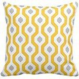 Geometric Hexagon Link Pattern Yellow Grey Throw Pillow Cove