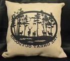 The Great Outdoors Forest Deer Burlap Decorative Throw Pillo