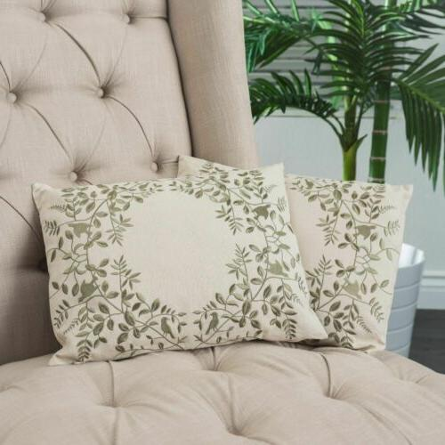 Set of 2 Green Floral Embroidered Over Beige Fabric Accent T