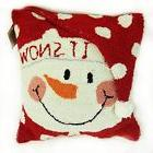 "Glitzhome 14"" Handmade Hooked Snowman Christmas Soft Throw P"