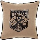 Sourpuss Happy Camper Burlap Pillow Brown Axes Fire Camping