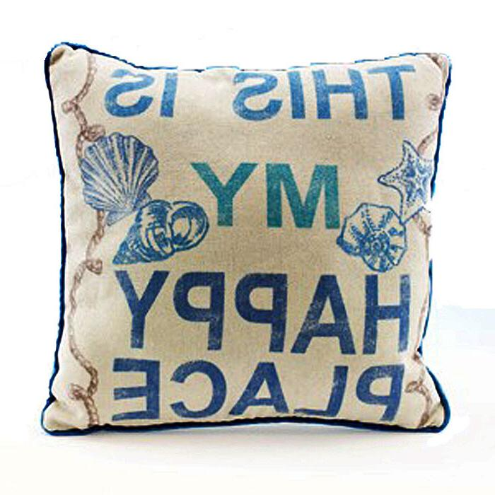 This Is My Happy Place - Decorative Throw Pillow Nautical Be