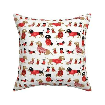 holiday dachshund doxie dog throw pillow cover
