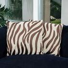 "Home Decor 18"" Brown Zebra Print Decorative Throw Pillows"