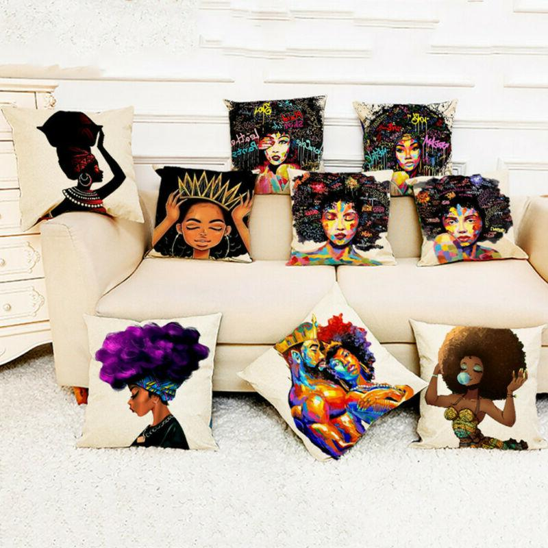 Cover African Women Print Throw Pillow Case Cushion Covers P