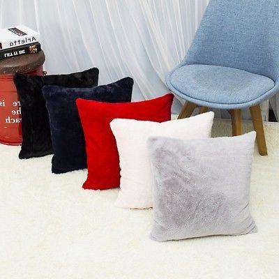 Home Velvet Plush Square Pillow Sofa Throw Cover
