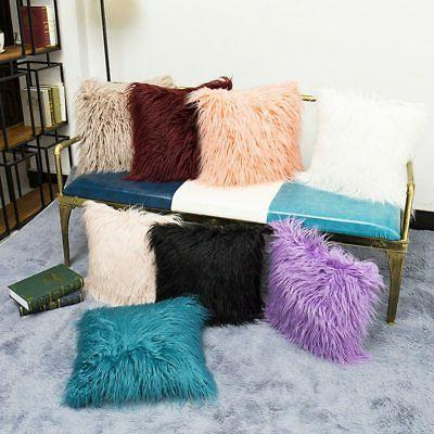 Home Decor Fur Velvet Plush Square Pillow Case Sofa Throw Cu