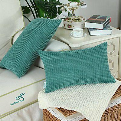 Home Case Covers 12x20 Soft Corduroy Corn Striped,Teal