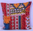 INDIAN CUSHION COVER PILLOW CASE KANTHA WORK IKAT ETHNIC THR