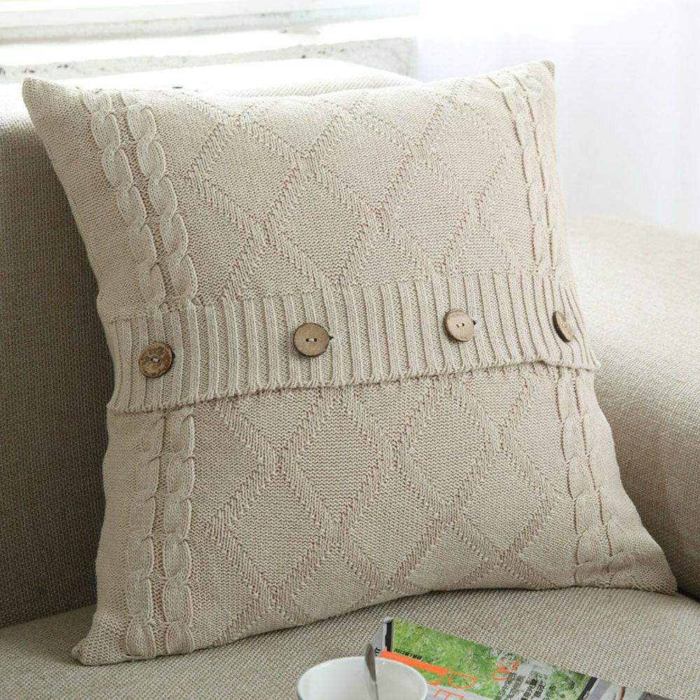 1xKnitted Button Fashion Throw Pillow Case Cafe Sofa Cushion