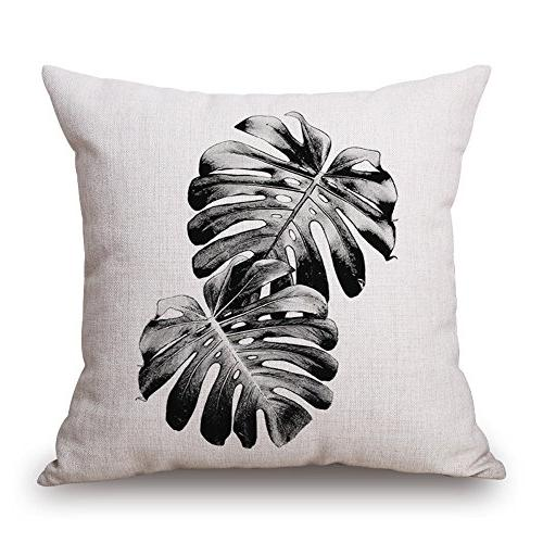 "WOMHOPE Pcs 17"" Black Leave Mordern Style Cotton Throw Pillow Case Cushion Case"