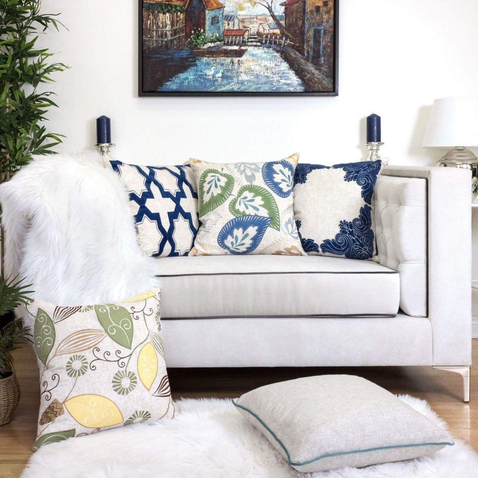Homey Linen Pillow Embroidery Large Cushion