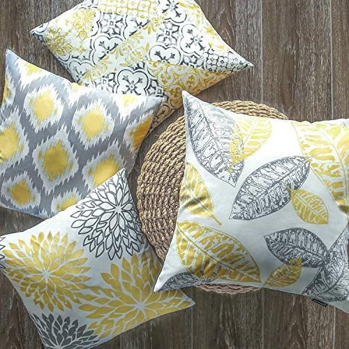 "Phantoscope Set of New Living Yellow and Grey Pillow Case 18"" x"