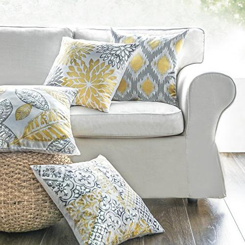 "Phantoscope Set New Living and Grey Decorative Pillow Case 18"" x x"