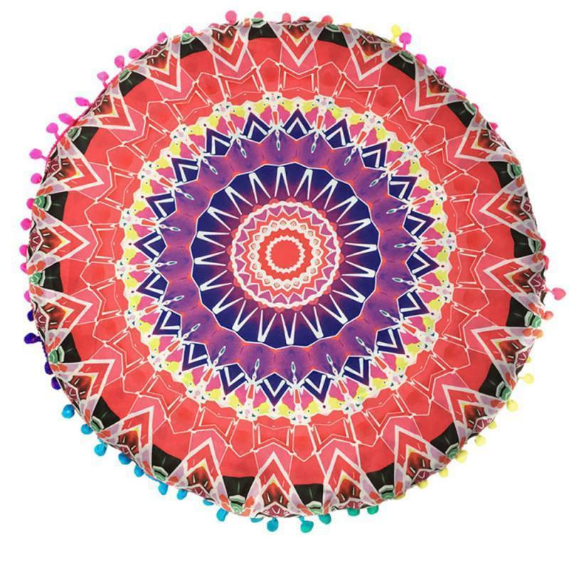 Mandala Floor Pillow Throw Pouf Bohemian Indian Cushion Roun
