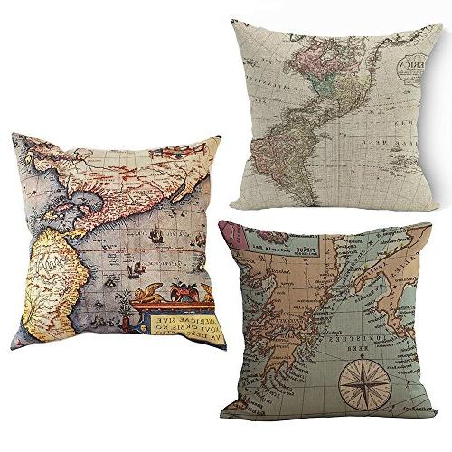 map throw pillow covers square