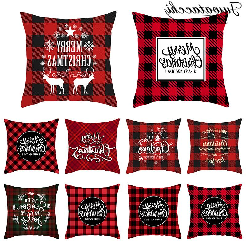 merry christmas gift cushion cover polyester red