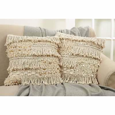 moroccan fringe down filled cotton throw pillow