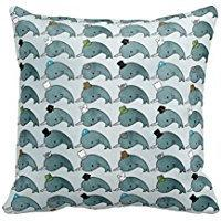Joutletshop Narwhals with hats 18X18 Inches Throw Pillow Cov