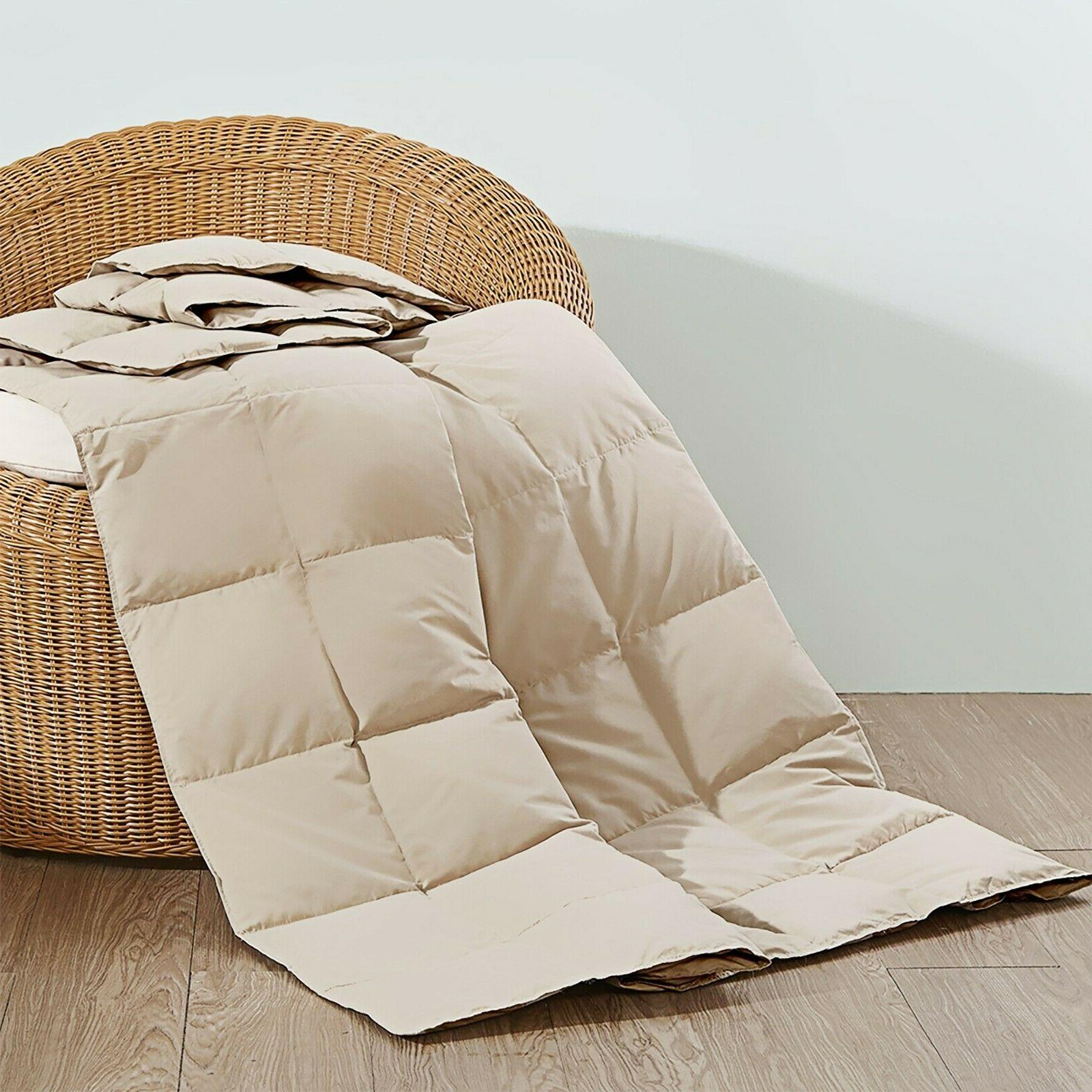 Natural UltraFeather Lightweight 30% Down Throw Blanket Down