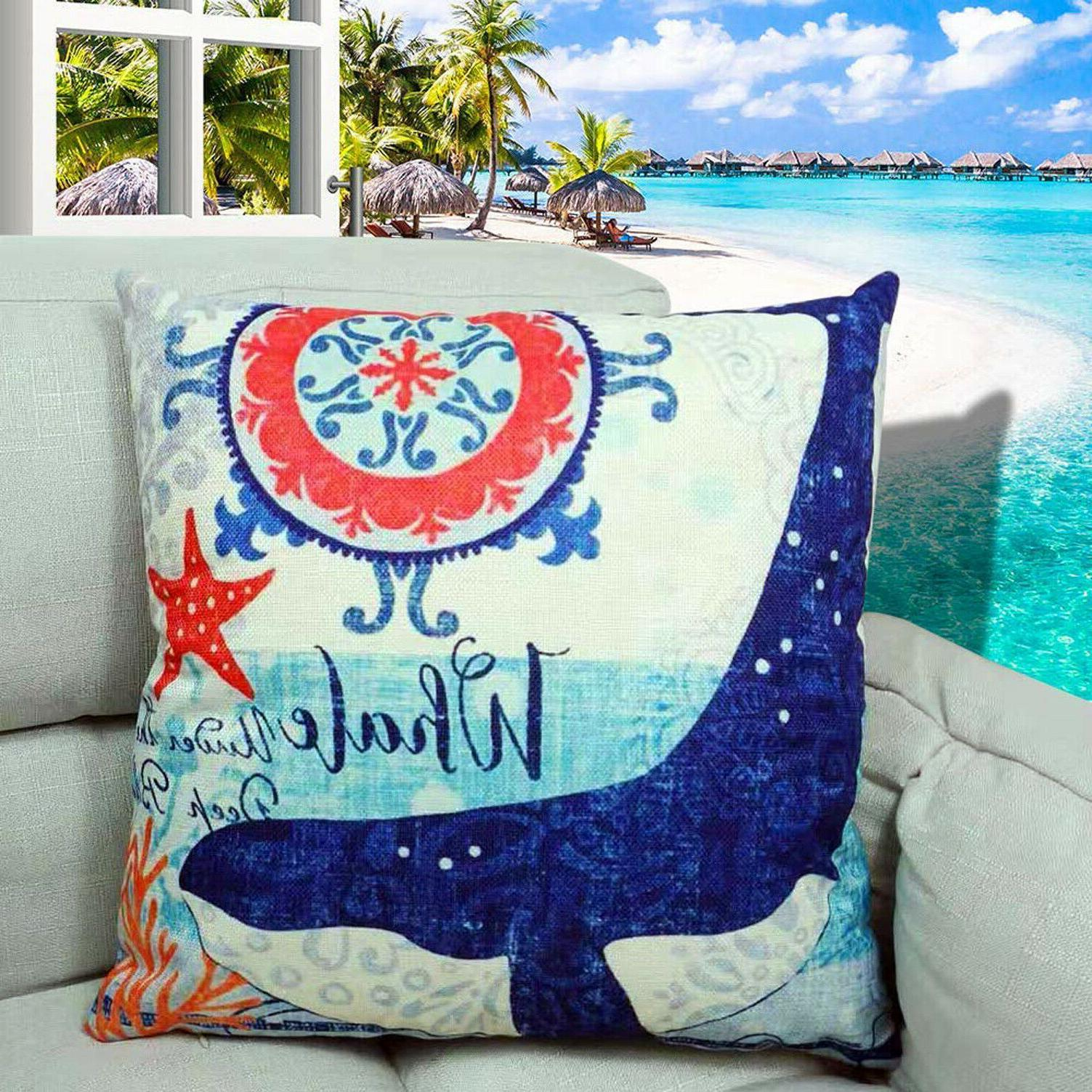 Ocean Coastal Decor Pillow Case Couch Bench