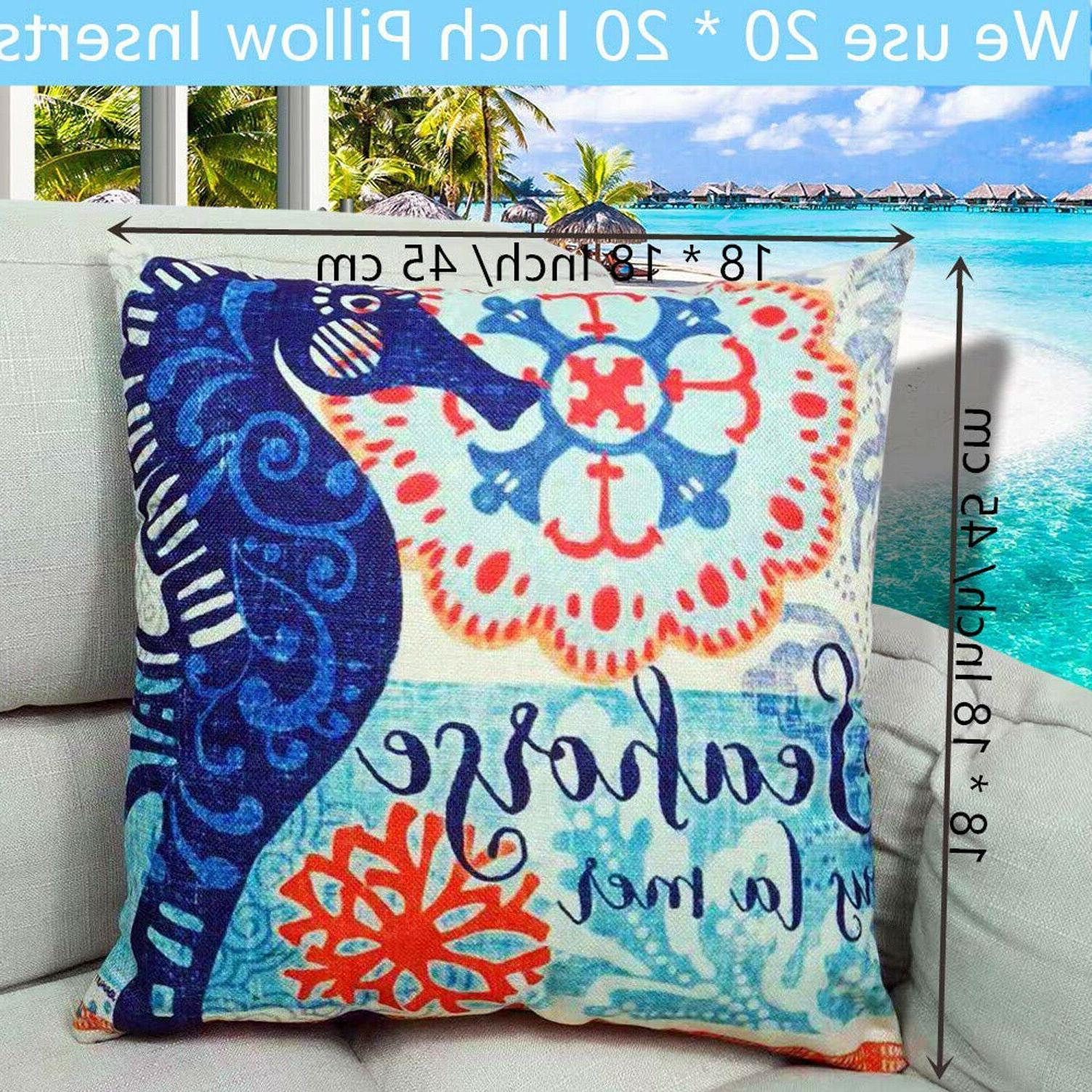Ocean Pillow Case Beach Couch Sofa Chair Bench