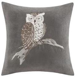 Owl Embroidered Suede Throw Pillow, Gray