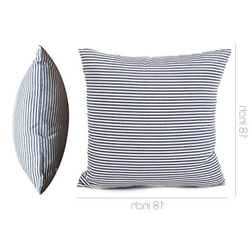 COMHO Pack Cotton Striped Pillow Covers Cushion Covers, Pillowcases, for Car Chair Inch/45x45 cm
