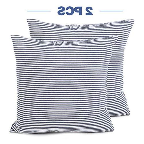 COMHO Pack of Cotton Striped Throw Pillow Set, Cushion Pillowcases, for Sofa Car 18x18 Inch/45x45 cm