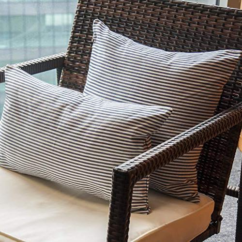 COMHO Pack Cotton Striped Pillow Covers Set, Decorative Cushion Pillowcases, for Car Chair 18x18 cm