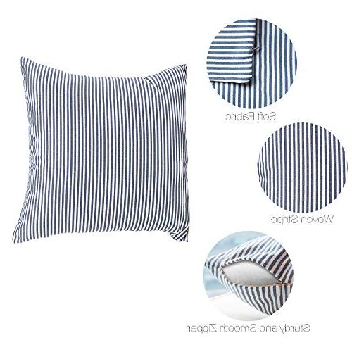 COMHO Cotton Woven Pillow Cushion Covers, Square Farmhouse Pillowcases, for Bedroom Car Chair 18x18 Inch/45x45 cm