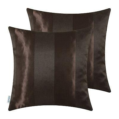 """CaliTime Pack Cushion Covers Throw Cases Striped 18"""" 20"""""""