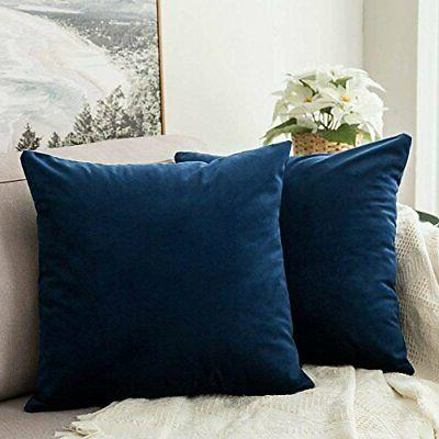 MIULEE Pack of 2 Velvet Pillow Covers Decorative Square Pill
