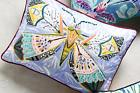 NEW Anthropologie Painted Fauna BUTTERFLY PILLOW Embroidered
