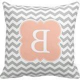 Decors Peach And Gray Monogram Chevron Stripes Throw Pillow