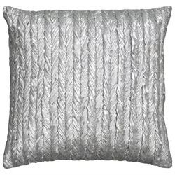 Rizzy Home Pillow Cover With Hidden Zipper In Silver