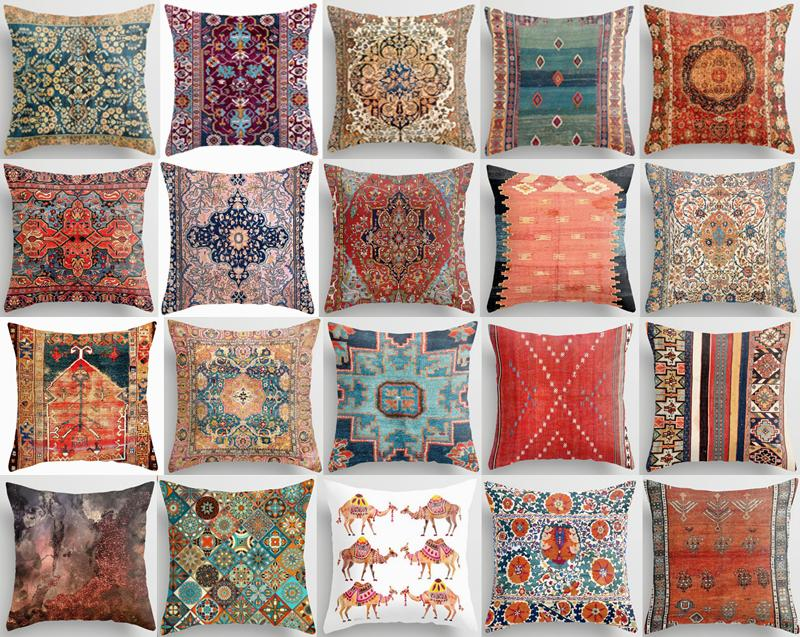 Throw PILLOW COVER Tapestry Kilim Rug Print Decorative Soft