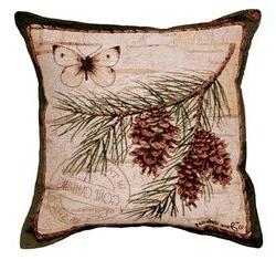 Pinecone Branch Butterfly Tapestry Toss Pillow