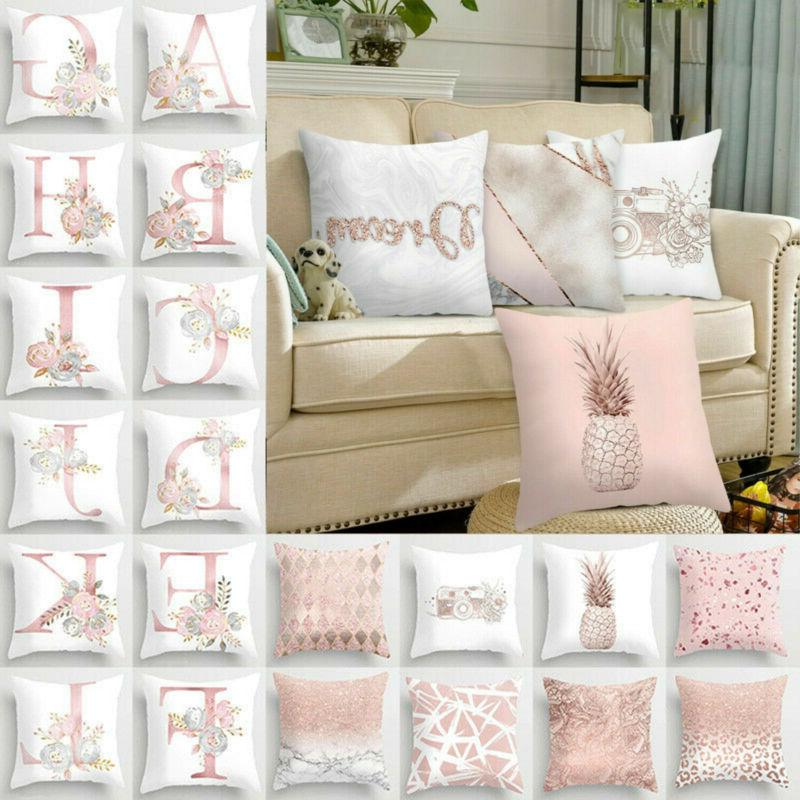 Gold Rose Pink Throw PILLOW COVER Decorative Lether 2-Sided