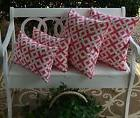 4 Pack Pink White Scroll Decorative Throw Pillow Lumbar Indo
