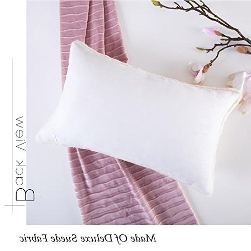 HOME Plush Deluxe Mongolian Fur/Suede Accent Throw Pillow Cover Rectangular Cushion for 12 20 Inches,