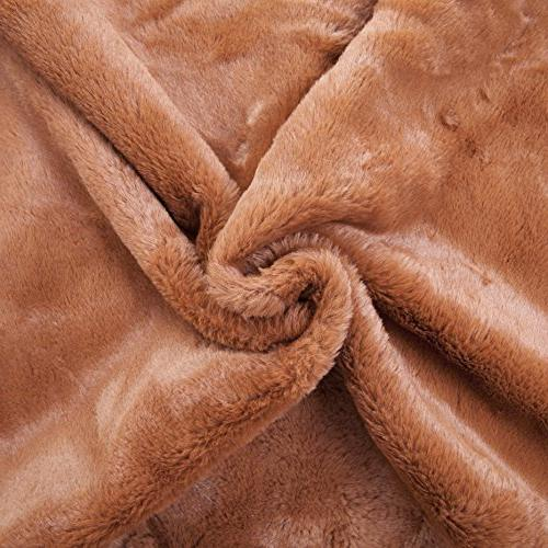 HOME BRILLIANT Plush Faux Fur/Suede Pillow Sheepskin Shell for Included, inch, Brown